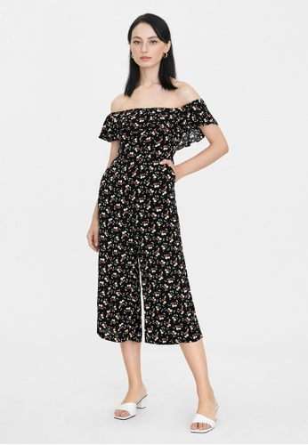 Pomelo black Off Shoulder Frill Floral Jumpsuit - Black 2015BAA5CA084BGS_1