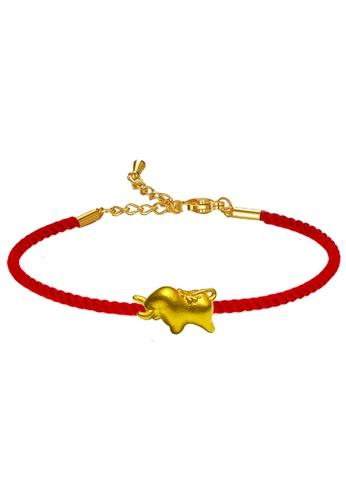 LITZ gold [SPECIAL] LITZ 999 (24K) Gold Ox Charm With Bracelet 牛手绳 EPC1005-B-R(0.12g+/-) B768DAC0ED260EGS_1