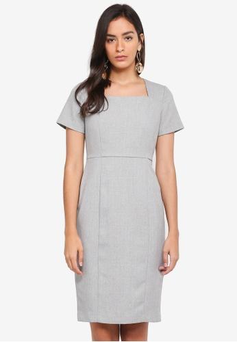 Dorothy Perkins grey Grey Textured Pencil Dress 4BF7CAA1747B80GS_1