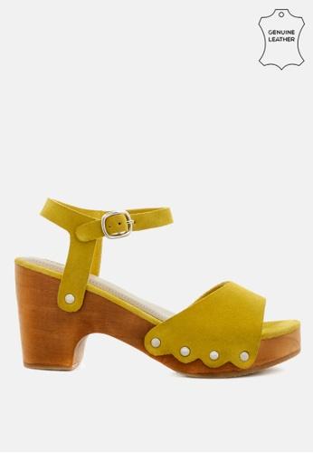 RAG & CO 黃色 镶仿麂皮厚底木屐凉鞋 E960ASH138CEF3GS_1