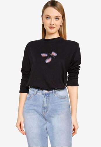 MISSGUIDED 黑色 蝴蝶Lip 印花T恤 0F9D2AA6C103D9GS_1