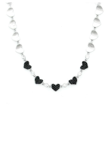 Glamorousky silver Cutie Heart Necklace with Black Austrian Element Crystals 20068AC24C08C7GS_1