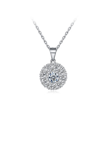 Glamorousky white 925 Sterling Silver Simple and Bright Round Pendant with Cubic Zircon and Necklace 5D801AC4A29746GS_1