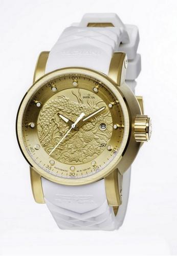 INVICTA gold Invicta S1 Rally Men 48mm Case White, Beige Silicone Strap Gold Dial Automatic Watch 19546 IN968AC0F5FNSG_1