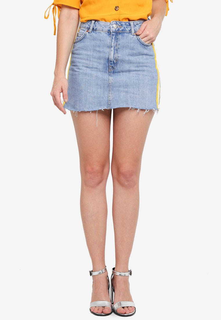 TOPSHOP Mid Stripe Denim Skirt Denim With Side UnpxUwB
