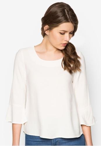 Rzalora 台灣uffled Sleeve Blouse, 服飾, 上衣