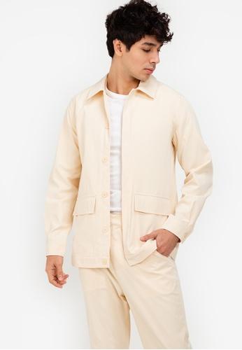 ZALORA BASICS beige Flap Pocket Jacket 2934DAA2940BAAGS_1