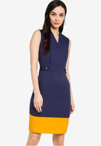 ZALORA WORK navy Colourblock Wrap Dress 57327AA9BF0EE5GS_1