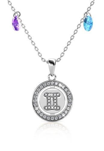 Her Jewellery silver Disc Crystal Pendant (White Gold) - Embellished with Crystals from Swarovski® 63529AC76310E0GS_1