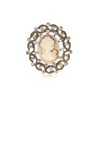 Glamorousky white Elegant Vintage Plated Gold Geometric Pattern Beauty Oval Brooch with Cubic Zirconia 0AFF1AC25F04C3GS_1