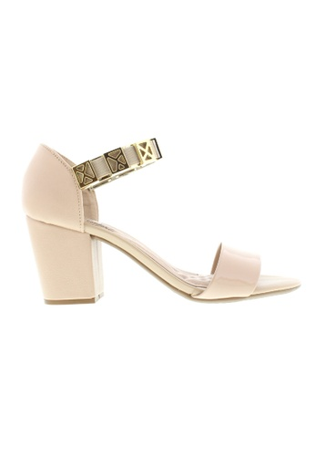 Beira Rio beige and gold Bracelet Strap Block Heeled Sandal BE995SH63ZUUHK_1