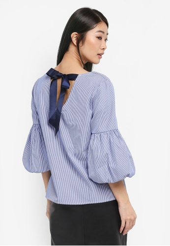 Dorothy Perkins navy Blue Stripe Puff Sleeve Top BE9AFAA48C278AGS_1