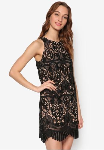 Esla 網格zalora鞋子評價鉤花無袖連身裙, 服飾, 洋裝