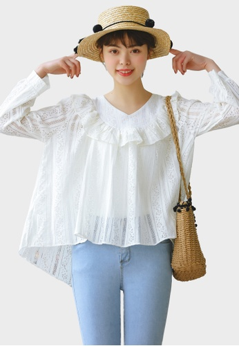 Shopsfashion white Ruffles Lace Blouse in White  E1027AAA126952GS_1