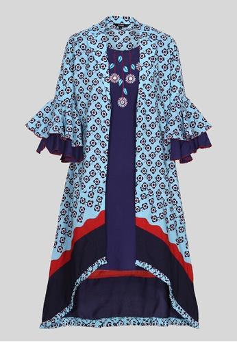 Le Reve blue and multi Le Reve 3/4 Ruffle Sleeves Hi-Low Split Front Dress 3C975AA2DCDA91GS_1