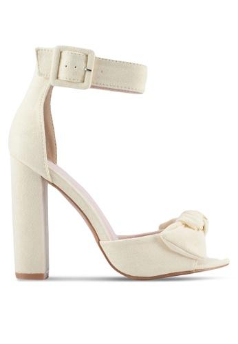 Velvet yellow Bow Detail Ankle Strap Heels EE152SHC70A299GS_1