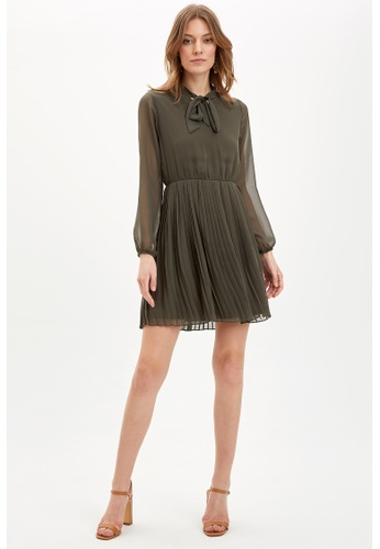 DeFacto green Long Sleeve Mini Dress CF6DEAA854516AGS_1