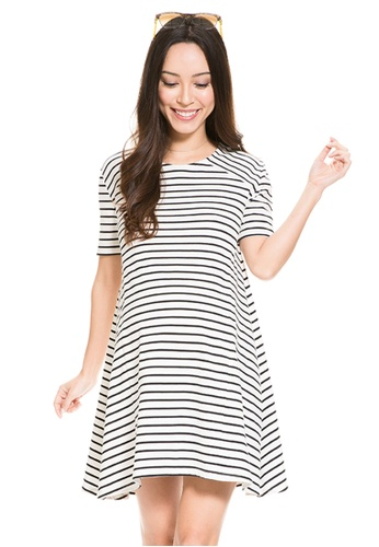 Mayarya black and white Striped A-line Maternity And Nursing Dress 11597AAAC05AE4GS_1