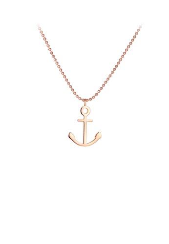 Glamorousky 銀色 簡約時尚鍍玫瑰金船錨316L鋼吊墜配項鏈 FFC8EACF4D8EF9GS_1