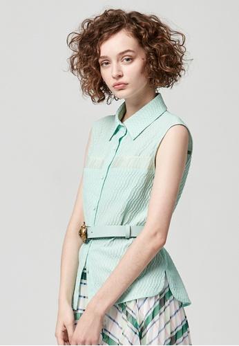 iROO green Sleeveless Textured Top E244DAAAE15621GS_1