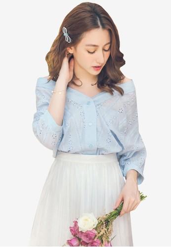 Yoco blue Mesh Lace Open Neck Top 8349DAA7476218GS_1