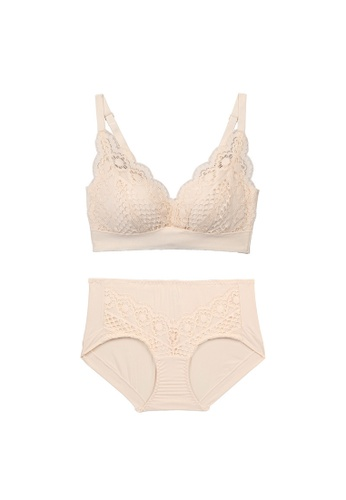 Midnight 米褐色 Premium Lace Beige Lingerie Set (Bra and Underwear) 191CFUSA6DCCE0GS_1
