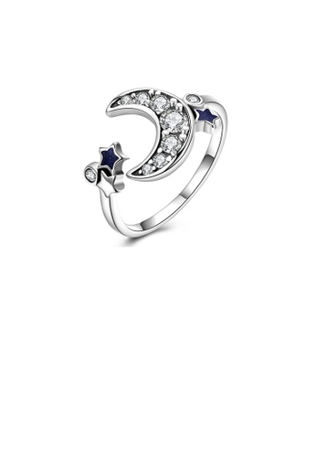 Glamorousky white 925 Sterling Silver Vintage Star Moon Cubic Zircon Adjustable Ring C93C1AC9177F54GS_1