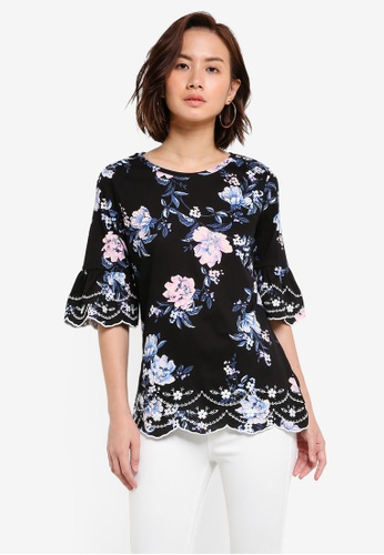 Dorothy Perkins black Black Floral Embroidered Top DO816AA0RJOWMY_1