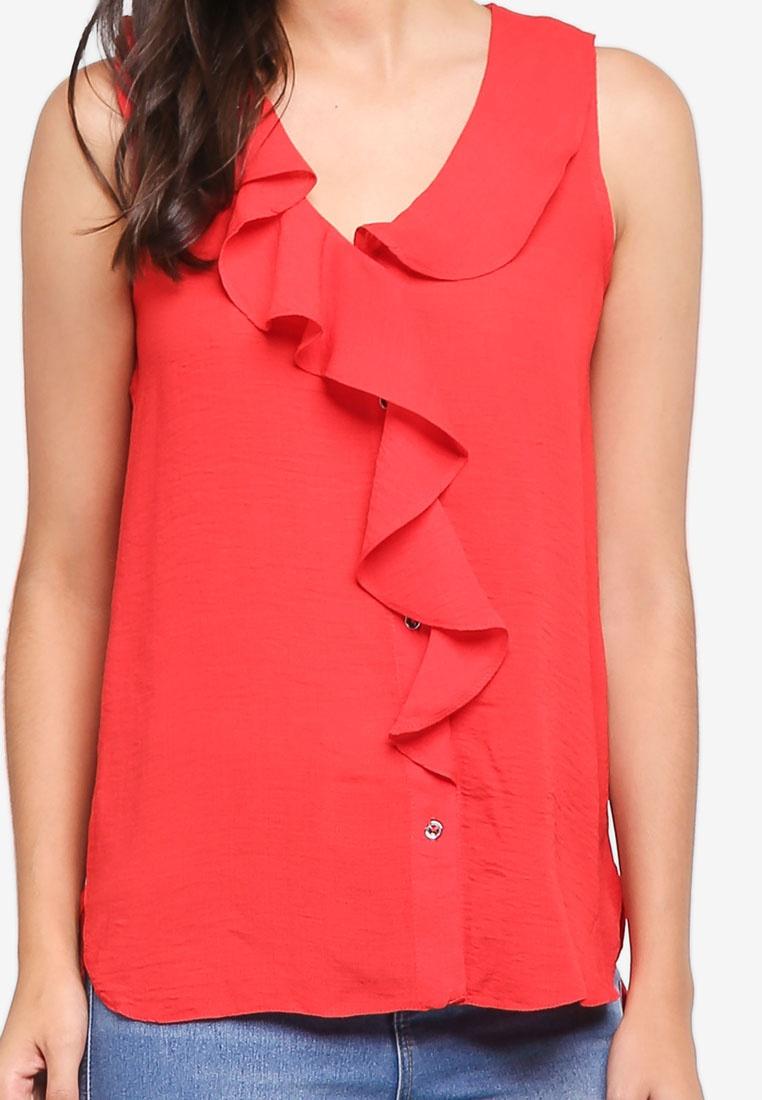 Dorothy Sleeveless Front Red Ruffle Shirt Red Perkins rwzpUr