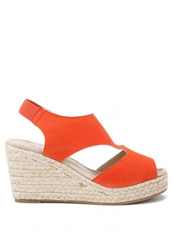 KissXXX 橘色 羅馬風糖果色系絨面舒適麻編坡跟涼鞋 KI603SH09KDHTW_1
