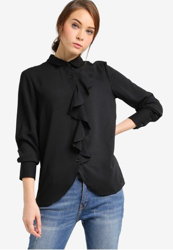 起褶esprit暢貨中心長袖上衣, 服飾, 女性服飾