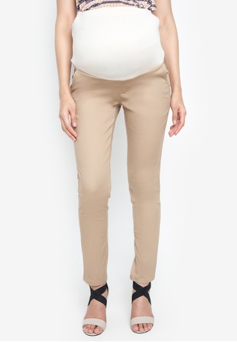 Great Expectations beige Basic Full Panel Slim Straight Maternity Pants In Stretch GR468AA64GULPH_1