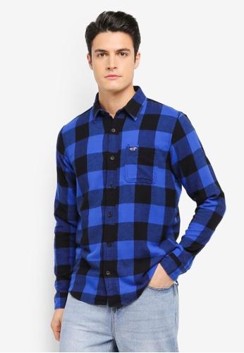 Hollister blue Flannel Pattern Shirt HO422AA0T116MY_1