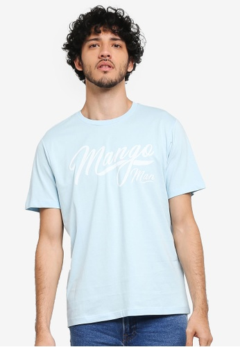 MANGO Man blue Printed Cotton T-Shirt MA449AA0T1E0MY_1