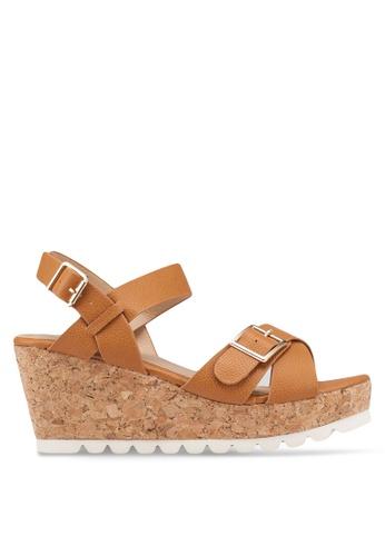 Carlton London 褐色 交叉繞帶楔型鞋 4AB88SH964644BGS_1