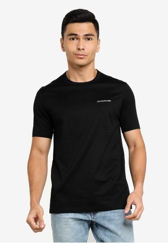 ck Calvin Klein black DOUBLE MERCERISED COTTON CREW TOP WITH LUREX LOGO 52734AA94F8F39GS_1