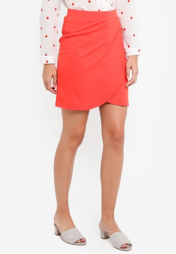 ICHI red Kate Wrap Skirt 48002AA59631BBGS_1