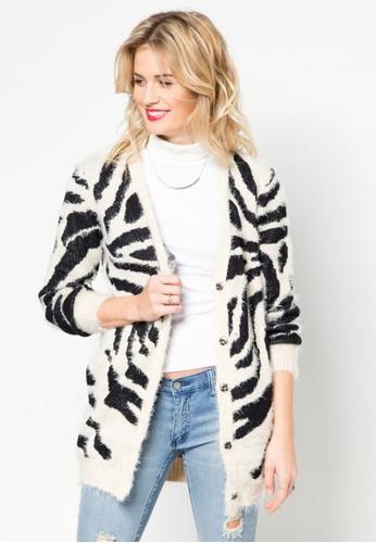 撞色條紋針織zalora 衣服評價外套, 服飾, 外套
