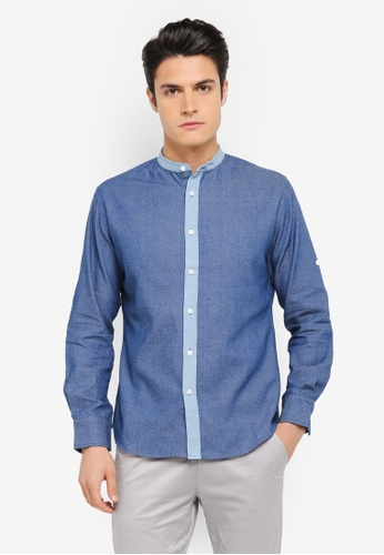 ZALORA navy Denim Mandarin Collar Long Sleeve Shirt DCF19AA721C7DCGS_1