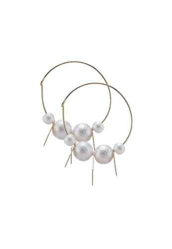 Saturation gold Pearl and Geo Drop Hoop Earrings 64B7DAC944FE60GS_1