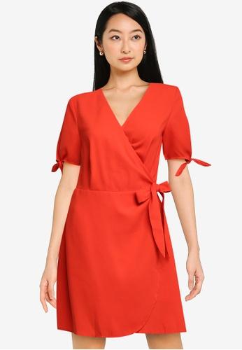 ZALORA BASICS orange Tie Sleeve Wrap Dress 42A24AA2D88306GS_1