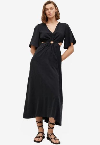 Mango black Side Slit Dress B104CAA5B240C4GS_1
