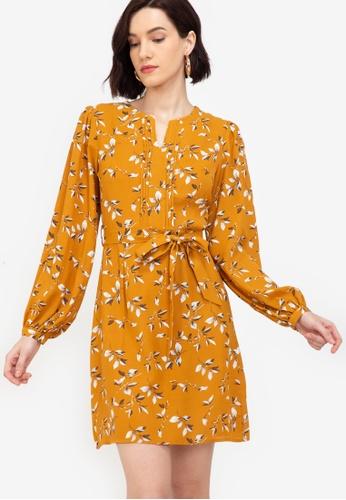 ZALORA WORK multi Notch Neck Puff Sleeves Dress 6B483AACC56905GS_1