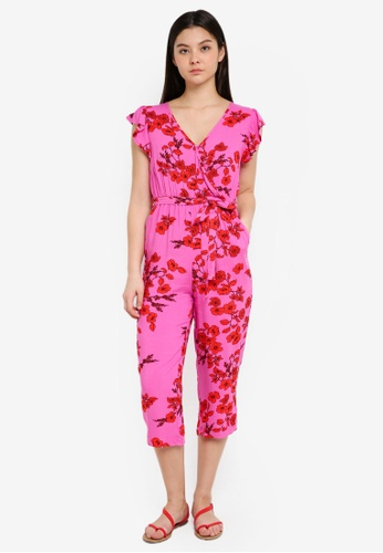 Cotton On pink Woven Frankie V-Neck Culotte Jumpsuit CE3ACAA0E5373CGS_1