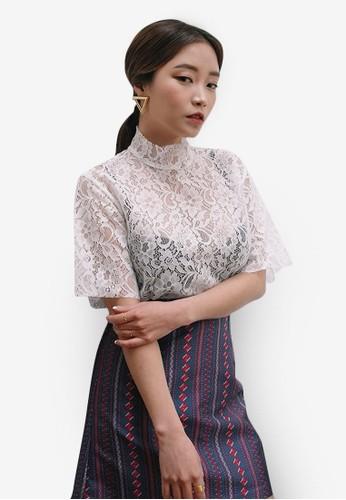 韓時尚高領花卉蕾絲上衣, 服飾esprit台灣outlet, 上衣