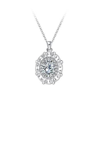 Glamorousky white Fashion Elegant Geometric Pendant with White Cubic Zircon and Necklace F7AB7AC2FCC76BGS_1
