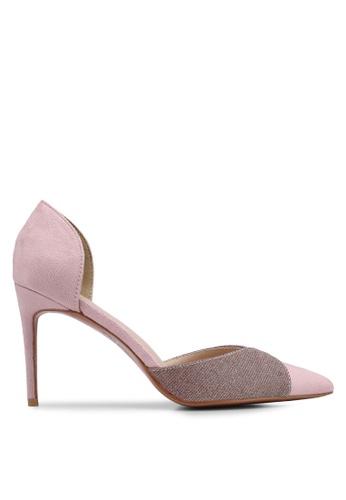 Velvet 米褐色 麂皮拼接閃亮高跟鞋 E74C8SH2A2EFC1GS_1