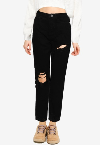 MISSGUIDED black Riot Thigh Open Knee Slash Mom Jeans E5577AA03413DCGS_1