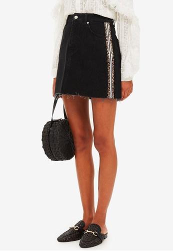 TOPSHOP black Leopard Stripe Denim Skirt 7B270AAB481F82GS_1