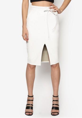 人造皮革腰繫帶修身及膝裙, 服飾, esprit台灣官網裙子